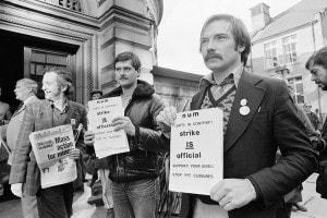 Minatori in sciopero nel 1984