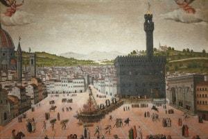 Esecuzione di Girolamo Savonarola in Piazza della Signoria, 1498. Collezione di San Marco, Firenze.