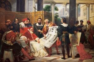 Papa Giulio II, che ordina i lavori per il Vaticano e la Basilica di San Pietro a Roma, con Michelangelo, Bramante e Raffaello