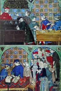 Affresco raffigurante l'attività bancaria in Italia nel Medioevo