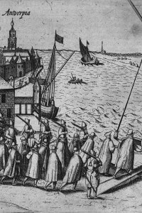 Soldati e mercanti che si imbarcano su una nave nel porto di Anversa, 1578