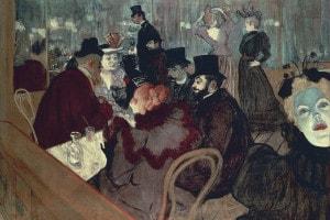 Al Moulin Rouge di Toulouse-Lautrec. Olio su tela, 123x140 cm. Art Institute of Chicago