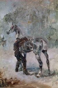 Artigliere che sella il cavallo di Toulouse-Lautrec, 1881. Olio su tela, 50,5x37,5 cm. Musée Toulouse-Lautrec di Albi