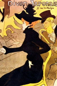 Manifesto pubblicitario per il café Divan Japonais realizzato da Toulouse-Lautrec.