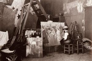 Toulouse-Lautrec nel suo studio che dipinge Ballo al Moulin Rouge