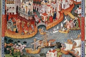 Partenza di Marco Polo con il padre e lo zio da Venezia per la corte di Kublai Khan
