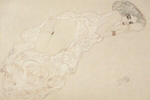 Nudo disteso verso destra di Gustav Klimt, 1910