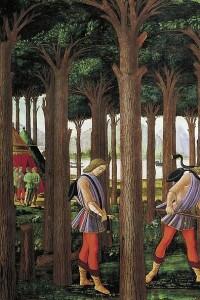 Nastagio degli onesti, primo episodio di Botticelli