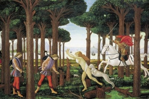 Nastagio degli onesti, primo episodio del Decameron di Sandro Botticelli