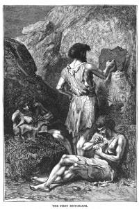 La scena raffigura tre uomini preistorici