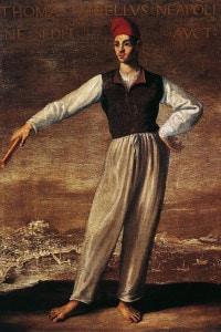 Ritratto di Tommaso Aniello, detto Masaniello, pescivendolo capo della rivolta contro il dominio della Spagna asburgica a Napoli. Dipinto attribuito a Onofrio Palumbo