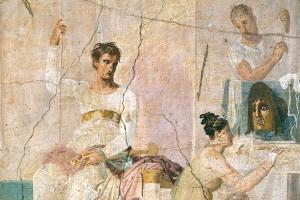 Affresco raffigurante una scena teatrale. Basilica di Ercolano. Civiltà romana, I secolo