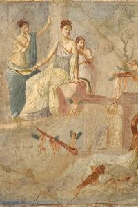 Affresco romano raffigurante Eracle e Onfale. Pompei