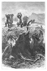 Incisione che raffigura cacciatori e mammoth nell'era glaciale