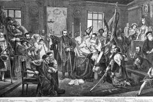 Unione di Lublino, 1569. Al centro, con la croce in mano, Sigismondo II Augusto Jagellone