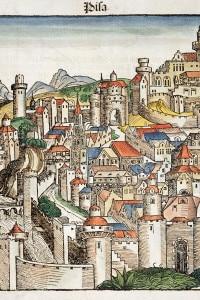 Stampa xilografica della città medievale di Pisa