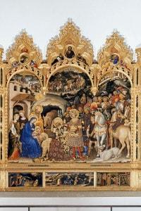 Adorazione dei magi: dipinto di Gentile da Fabriano. 303 x 282 cm, tempera su tavola, conservato alla Galleria degli Uffizi di Firenze