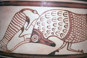 Particolare di un vaso miceneo trovato a Cipro