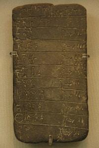 Tavoletta d'argilla: scrittura micenea, Lineare B. Museo Archeologico Nazionale, Atene