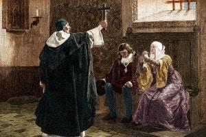 Tomás de Torquemada, Grande inquisitore di Spagna, con i Re cattolici Isabella di Castiglia e Ferdinando d'Aragona