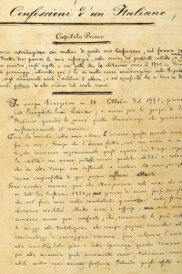 Manoscritto delle Confessioni d'un italiano di Ippolito Nievo. Mantova, Biblioteca Comunale Centrale Teresiana
