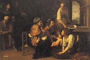 Nascita di San Giovanni Battista di Artemisia, 1633-1635. Madrid, Museo Del Prado. Olio su tela, 184x258 cm