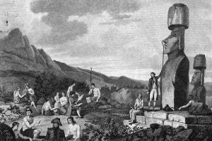 Incisione che raffigura esploratori europei sull'Isola di Pasqua mentre misurano e registrano statue, 1786