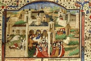 Peste a Firenze, una miniatura del Decameron