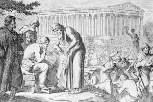 Immagine che raffigura Pericle mentre supervisione le attività di costruzione ad Atene