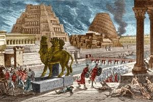 Illustrazione dell'assedio di Babilonia di Ciro il Grande nel 540 a.C.