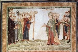 Miniatura che raffigura Matilde di Canossa che incontra il Vescovo di Modena