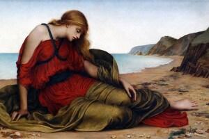 Arianna abbandonata a Naxos in un dipinto di Evelyn De Morgan (1877)