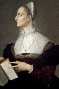 Ritratto di Laura Battiferri Ammannati mentre legge i sonetti del Petrarca