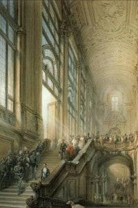 Una riproduzione d'epoca dell'interno del primo Senato del Regno d'Italia (1861-1864)