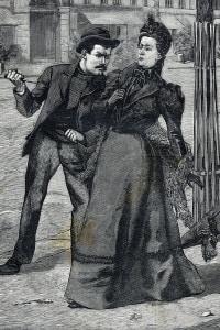 L'assassinio dell'imperatrice Elisabetta d'Austria da parte dell'anarchico Luigi Lucheni. Ginevra, 1898. Incizione per la prima pagina del quotidiano Le Petit Parisien