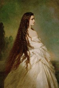 Ritratto dell'imperatrice Elisabetta d'Austria con capelli fluenti. Olio su tela, 1846