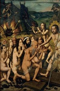 Gesù scende nel limbo. Pittura di Bartolomé Bermejo del 1475