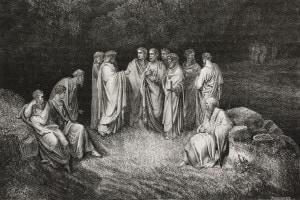 Canto IV Inferno. Dante incontra le anime dei poeti nel Limbo, quattro dei quali si fanno avanti, Omero, Orazio, Ovidio e Lucano