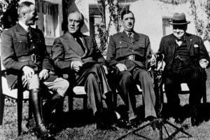 Conferenza di Casablanca, 1943: Henri Giraud, Franklin Delano Roosevelt, Charles de Gaulle e Winston Churchill