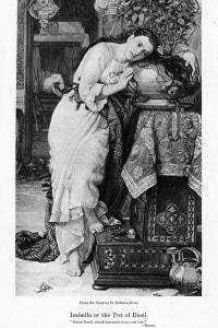 Isabelle with the Pot of Basil di William Holman Hunt, scena ispirata dal Decameron di Boccaccio