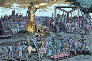 L'impiccagione dei protestanti in Inghilterra durante il regno di Maria I Tudor