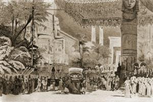 Una scena dell'Aida di Giuseppe Verdi allestita al Teatro dell'Opera del Cairo, 1871