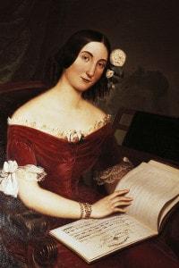 Ritratto di Giuseppina Strepponi con in mano la partitura del Nabucco, opera di Giuseppe Verdi, 1842. Museo Teatrale alla Scala