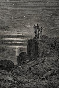 """Illustrazione per il verso finale del canto 34 dell'Inferno di Dante: """"E quindi uscimmo a riveder le stelle""""."""