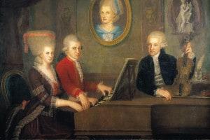 Leopold Mozart con i suoi figli, Wolfgang e Nannerl, al pianoforte. Ritratto di J.N. della Croce, 1780 circa