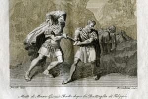 Morte di Marco Giunio Bruto dopo la battaglia di Filippi (85 a.C. o 78/79 a.C. - 42 a.C.)