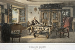 Mozart (1756-1791) nel suo studio a Kahlenberg vicino Vienna