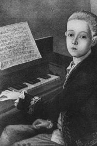 Ritratto di Mozart all'età di 9 anni. Dipinto di J. N. Helbling al Mozarteum, Salisburgo