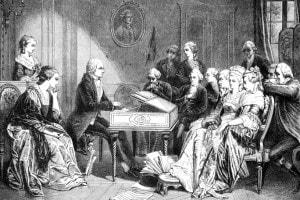 Ritratto di Mozart che suona la prima volta il Don Giovanni
