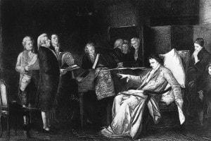 """Il compositore austriaco Wolfgang Amadeus Mozart (1756-1791) sul letto di morte dirige il suo """"Requiem""""."""